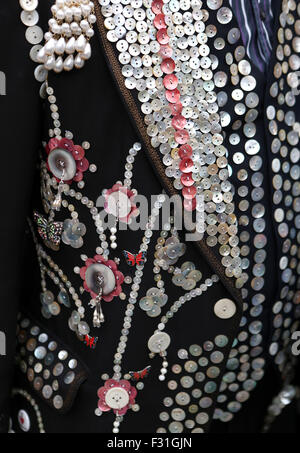 London, UK. 27th Sep, 2015. A pearl-button suit is seen during the annual Costermonger's Harvest Festival in London, - Stock Photo