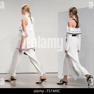 New York, NY - September 16, 2015: Models walk the runway at the Proenza Schouler fashion show during the Spring - Stock Photo