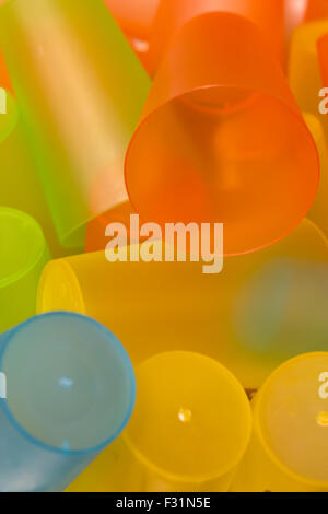 colorful plastic cups - Stock Photo