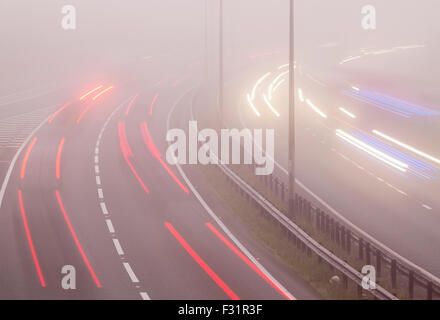 Billingham, UK. 28th September, 2015. UK Weather: Tricky driving conditions on the A19 at Billingham as early morning - Stock Photo
