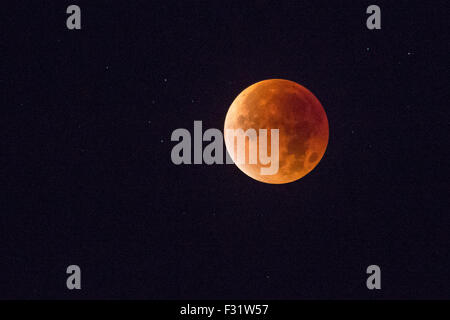 Lunar eclipse, Sheffield, England, UK. On 28th September 2015 the UK witnessed a rare total lunar eclipse coinciding - Stock Photo