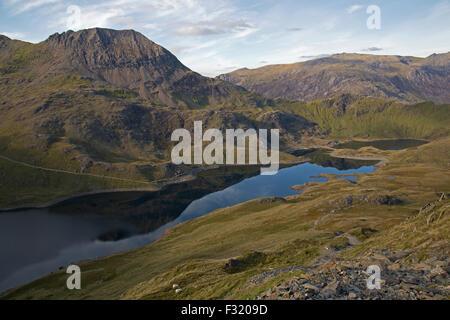 Looking towards Crib Goch, over Llyn Llydaw, from Llwedd, in Snowdonia, North Wales.