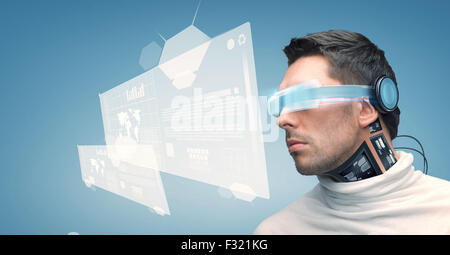 man with futuristic glasses and sensors - Stock Photo