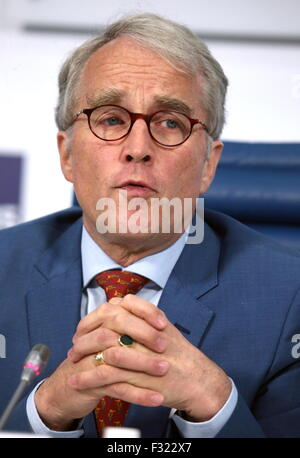MOSCOW, RUSSIA. SEPTEMBER 28, 2015. Germany's Ambassador to Russia Ruediger Freiherr von Fritsch gives a press conference - Stock Photo