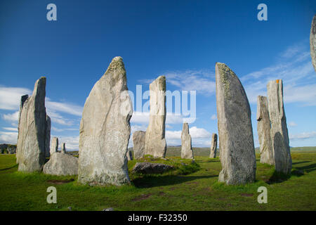 Part of Callanish One a large group of standing stones on the Isle of Lewis, Outer Hebrides, Scotland UK. - Stock Photo