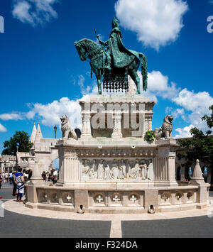Statue of Saint Istvan, Fisherman's Bastion, castle Hill, Budapest, Hungary - Stock Photo