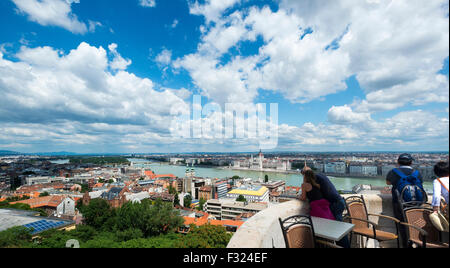 View from Fishermans Bastion, River Danube, Parliament buildings, Budapest, Hungary, - Stock Photo