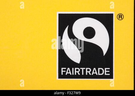 Fairtrade logo on box of Marks & Spencer Breakfast Blend teabags - Fairtrade logo symbol Fair Trade - Stock Photo