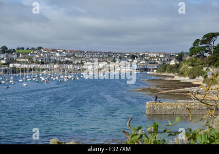 A view of Falmouth across Carrick Roads from Flushing in Cornwall - Stock Photo