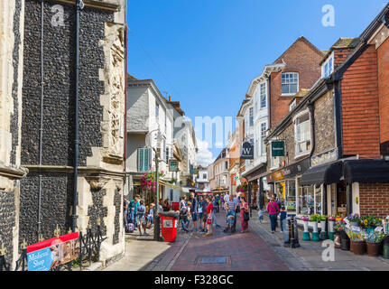 St Margaret's Street in the city centre with The Canterbury Tales visitor attraction on left, Canterbury, Kent, - Stock Photo