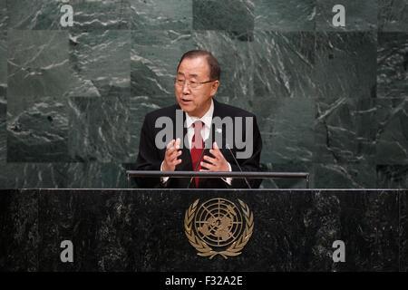 (150928) -- NEW YORK, Sept. 28, 2015 (Xinhua) -- United Nations Secretary General Ban Ki-moon speaks at the 70th - Stock Photo