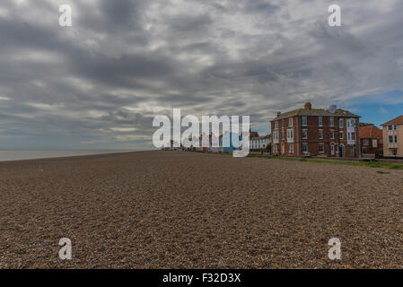 Aldeburgh beach and town on Suffolk Coast - Stock Photo