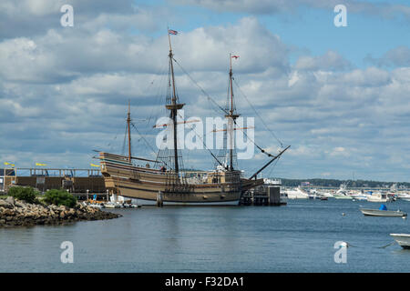 Mayflower II in Plymouth harbor, Massachusetts. The ship is a replica of the original Mayflower, and was built 1955 - Stock Photo