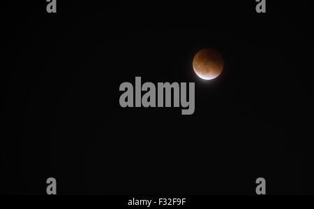 Supermoon Lunar Eclipse, September 27, 2015 - Stock Photo