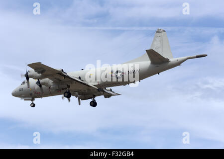 United States Navy Lockheed P-3C Orion landing for the airshow. - Stock Photo