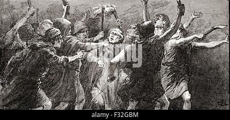 A scene from WIlliam Shakespeare's play Julius Caesar, Act III, scene 3.  Third citizen: 'Tear him, tear him.'  - Stock Photo