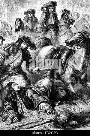King William III thrown from his horse at  Hampton Court, a royal palace in the London Borough of Richmond upon - Stock Photo