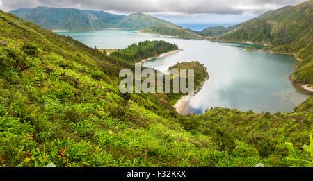 Lagoa do Fogo, a volcanic lake in Sao Miguel, Azores Islands - Stock Photo