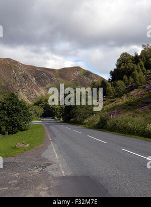 A deserted A822 road through the Sma' Glen in Perthshire, Scotland - Stock Photo