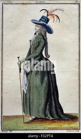 Fashion News Cabinet des Modes 1785-1786 Magasin des Modes Nouvelles Francaises et Anglaises 1786-1789 Journal de - Stock Photo