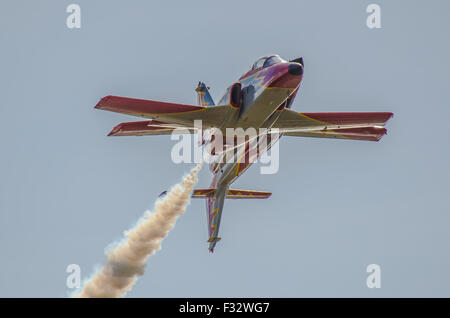 Patrulla Águila (Spanish for 'Eagle Patrol') is the aerobatic demonstration team of the Spanish Air Force - Stock Photo