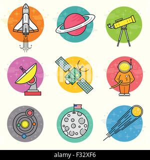 Astronomy Vector Icon Set. A collection of space themed line icons including a planet, rocket, spaceman and solar - Stock Photo