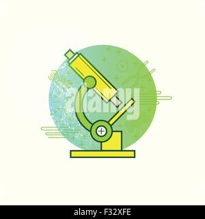 Microscope Vector. A science microscope on a biology background. Vector illustration - Stock Photo