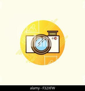 Camera Icon Vector. Modern camera symbol vector illustration. Stock Photo