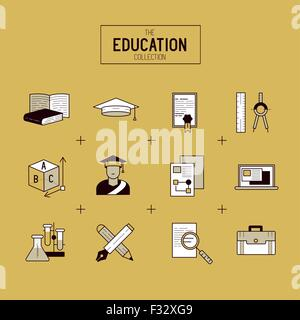 Education Vector Icon Set. a collection of gold study and research symbols including objects and tools. Vector illustration. - Stock Photo