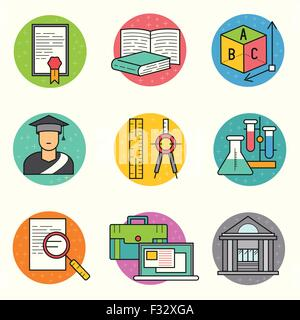 Education Vector Icon Set. a collection of study and research symbols including objects and tools. Vector illustration. - Stock Photo