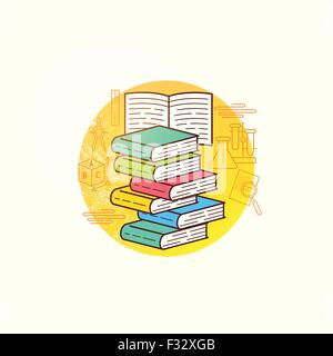 Book Collection Vector. A group of books for education and learning. Vector illustration. - Stock Photo