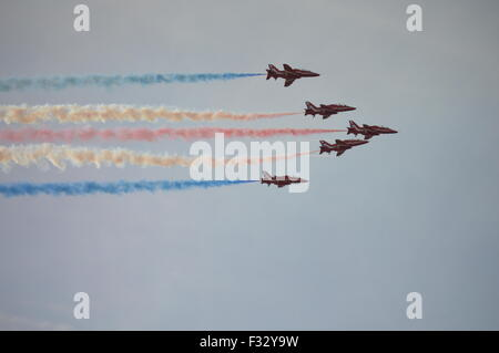 Red Arrows Display Team At The Southport Airshow - Stock Photo