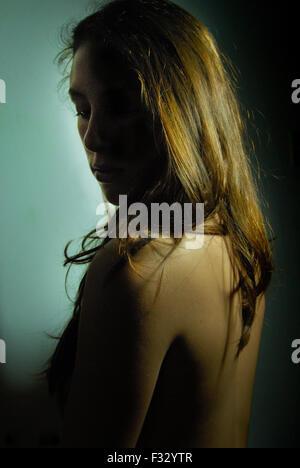 Girl showing her back, skin beautiful light - Stock Photo