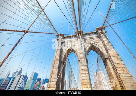 Brooklyn Bridge in New York City, USA. - Stock Photo