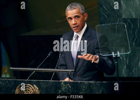 New York City. 28th Sep, 2015. United States President Barack Obama addresses the 70th annual United Nations General - Stock Photo