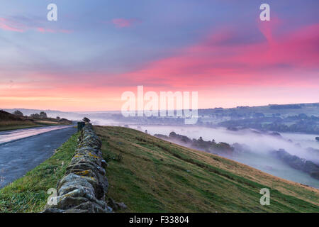 B6282 Road at Whistle Crag, Middleton-in-Teesdale, County Durham. Tuesday 29th September 2015, UK Weather. It was - Stock Photo