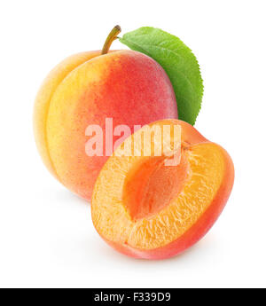 Fresh apricot isolated on white - Stock Photo