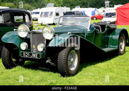 ELVASTON, DERBYSHIRE, UK. JULY 04, 2015.  Vintage 1937 Jaguar SS100 roadster on display at the Alveston country - Stock Photo