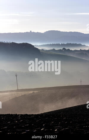 Telegraph poles in morning mist,Foggy sunrise over Devon fields,Teign valley,fence,duns ford,Haldon,halon belvedere,Lawrence - Stock Photo