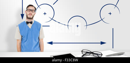 Composite image of geeky hipster wearing sweater vest - Stock Photo
