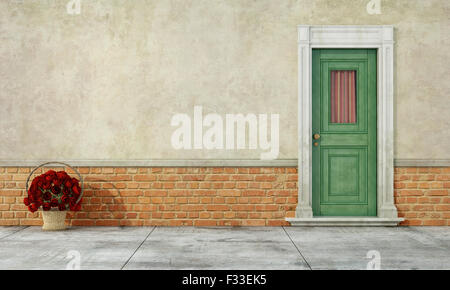 Detail of an old house with green  front door and wicker basket with roses on the floor  - 3D Rendering - Stock Photo
