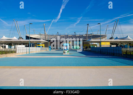 City of Manchester Stadium (commonly known as Etihad Stadium) in Sports City, Manchester, United Kingdom. - Stock Photo