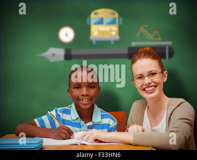 Composite image of happy pupil and teacher - Stock Photo