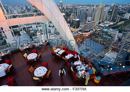Red Sky Restaurant Rooftop, Bangkok, Thailand, On the top floor of the Centara Grand skyscraper in the city centre - Stock Photo