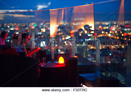 Red Sky Restaurant Rooftop, Bangkok, Thailand, On the top floor of the Centara Grand skyscraper in the city centre. - Stock Photo