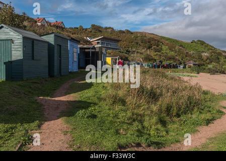 Beach Huts at Coldingham Bay Scotland - Stock Photo
