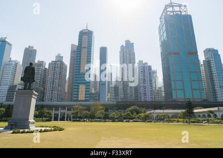 Cityscape from Sun Yat Sen Memorial Park in HongKong - Stock Photo
