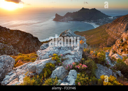 Hout Bay, from Table Mountain National Park, Western Cape, South Africa - Stock Photo