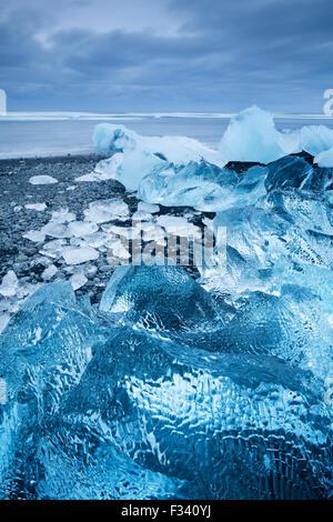 ice in the beach at Jökulsárlón, Iceland - Stock Photo