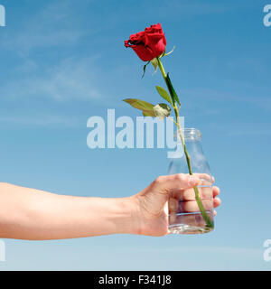 closeup of a young caucasian man with a glass bottle with a red rose in it, against the blue sky - Stock Photo
